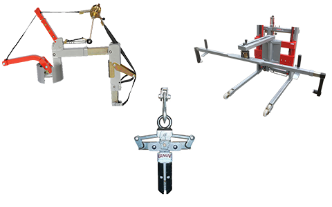 Coil clamps and manipulator arms on a hoist or jib